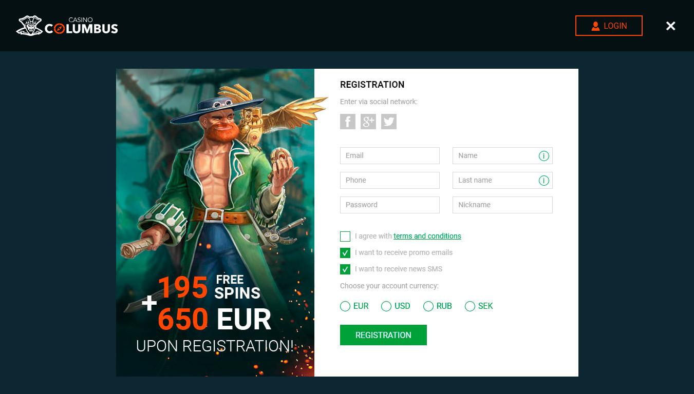 казино columbus регистрация